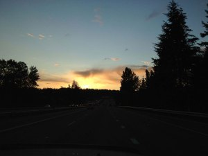 Blue sky and a nice sunset approaching Interstate 5