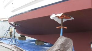 Side view, after new bottom paint