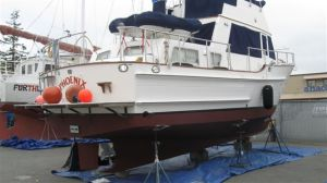 Phoenix in boat yard after new bottom paint