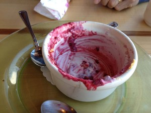 Blackberry cobbler empty bowl
