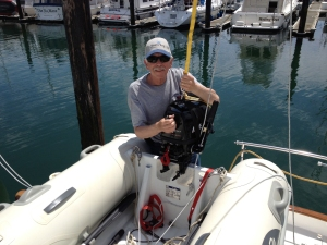 Lifting the outboard with the winch - closeup view