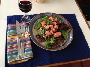 Smoked salmon dinner