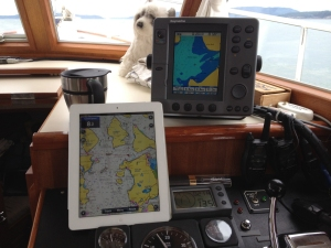 Navionics on iPad next to Raymarine Chart Plotter