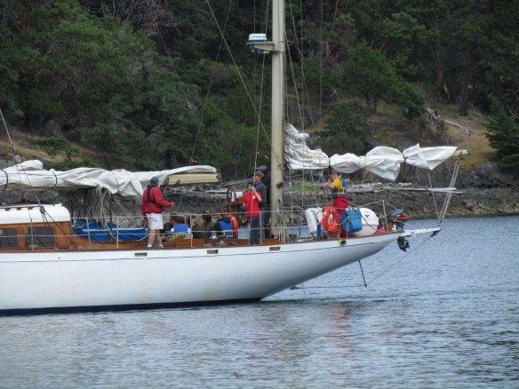Aft deck of schooner in Reid Harbor