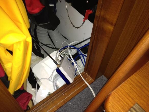 WiFi equipment in hanging locker