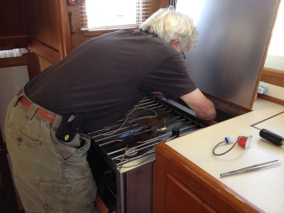 Jim replacing the propane sensor