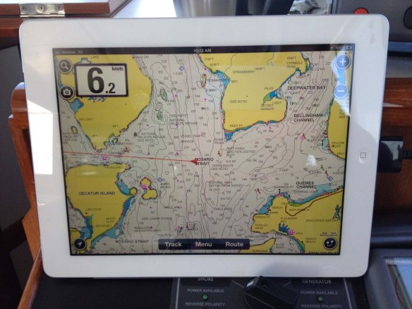 Navionics app display on the iPad