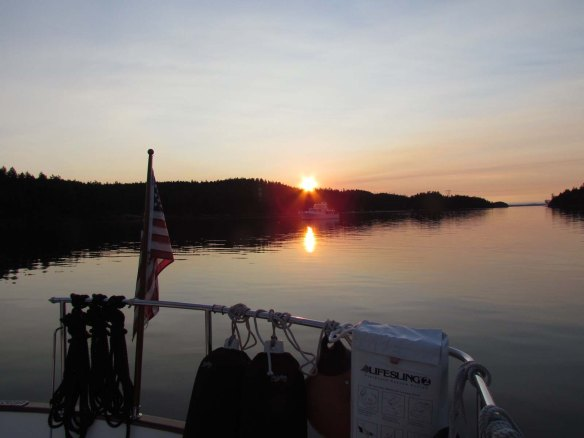 montague sunset behind island