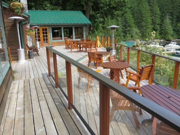 front deck at dent island lodge
