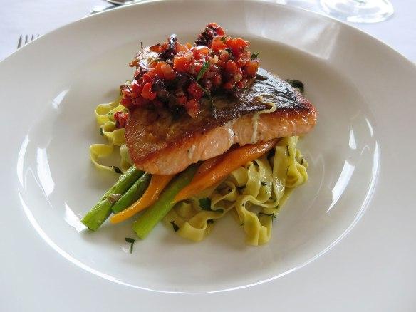 Alice's main course was seared salmon.