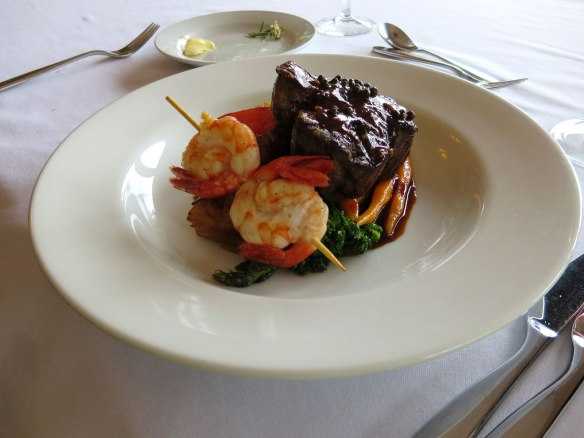 steak and prawns dinner