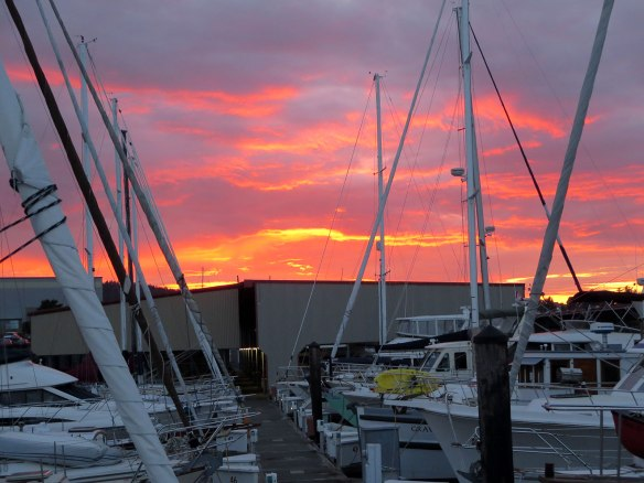 sunset at anacortes marina