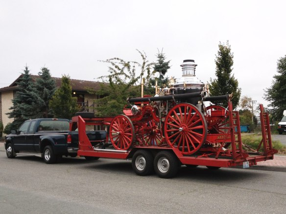 steam fire engine on trailer