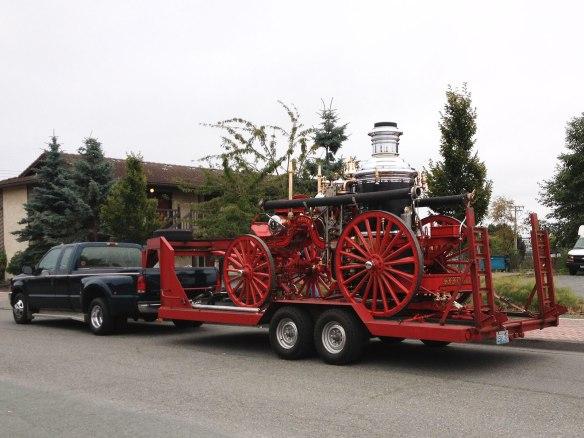steam fire engine on trailer