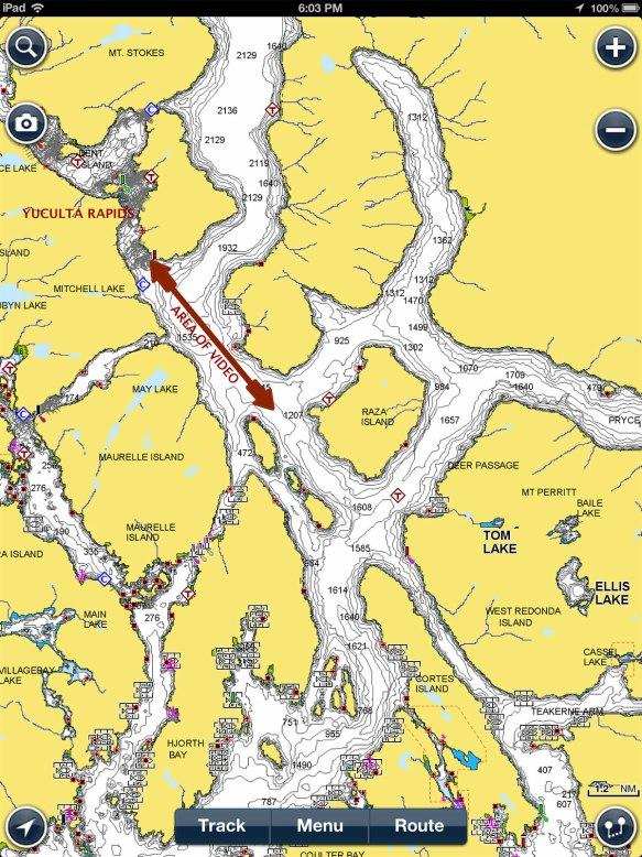 navigation chart yuculta rapids area