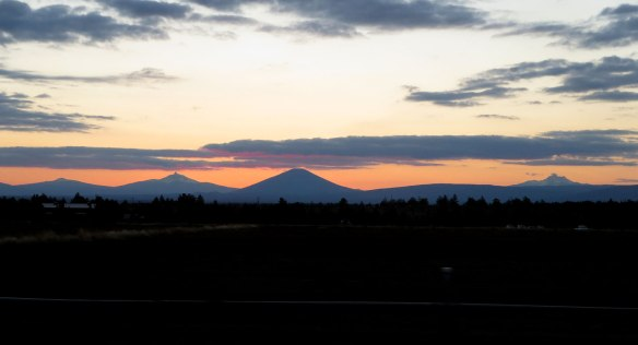 Cascades at sunset in Bend