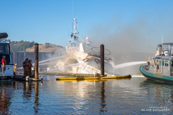 Water On Anacortes Burning Boat