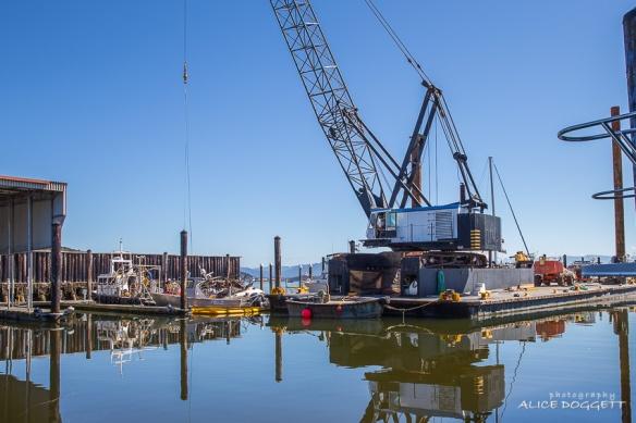salvage crane closeup anacortes boat fire