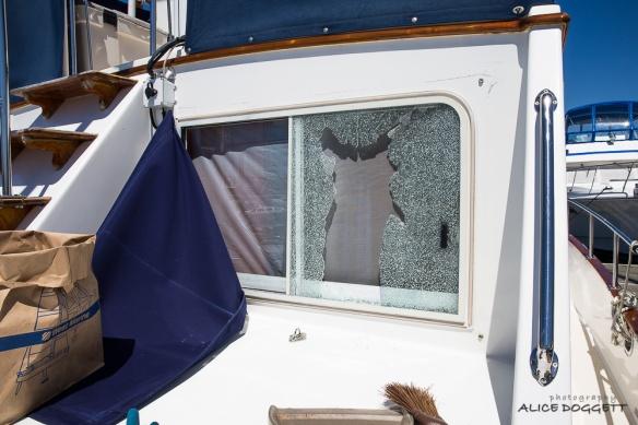 broken window from outside
